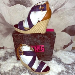 NIB Mix No. 6 Navy Wedge Sandals